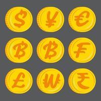 monedas de oro con icono de símbolo de moneda. vector