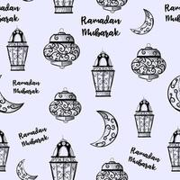Seamless pattern of Ramadan Kareem lanterns. Repetitive background with sketches of candles. Islamic and arabic traditional holiday. vector