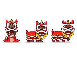 Chinese Lion Dance Cute Cartoon Character vector