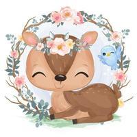 adorable ilustración de ciervo bebé en acuarela vector