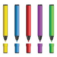 Set of colored markers vector illustration