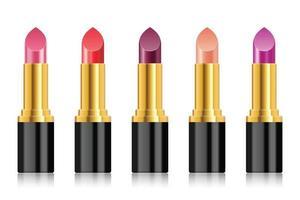 Realistic lipstick vector illustration isolated on white background set