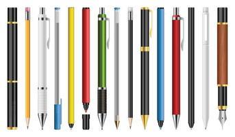 conjunto de bolígrafos, lápices y marcadores ilustración vectorial vector