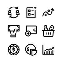 conjunto simple de iconos de líneas vectoriales relacionados con la bolsa de valores. contiene iconos como comercio, agregar lista, efectivo, saldo y más. vector