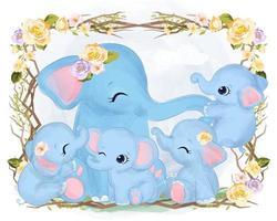 linda mamá y elefantes bebés jugando juntos vector