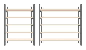 Modern steel and wooden bookcase vector illustration set