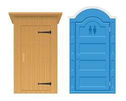 Set of wooden and bio outdoor toilet vector