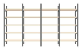 Conjunto de ilustración de vector de estantería de madera y acero moderno