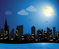 City buildings night illustration art with river.