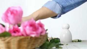 garota colocando rosas em um vaso branco