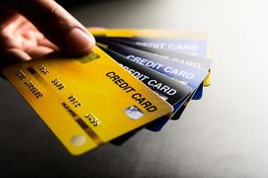 Close-up images of multiple credit cards