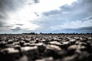 tierra árida con suelo seco y agrietado foto