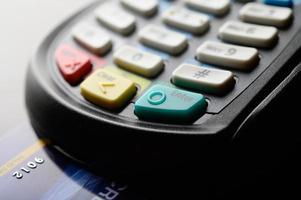 lector de tarjetas de crédito, enfoque selectivo foto