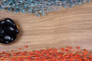 decoración de spa sobre fondo de madera foto