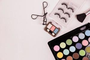 Top view of cosmetic beauty makeup photo