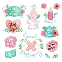 Pack Of Cute Watercolor The New Normal Stickers vector