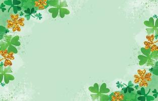 Watercolor and Glitter Shamrock Background vector