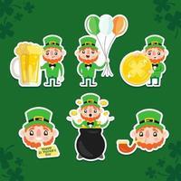 Leprechaun Sticker Pack for Saint Patrick's Day vector