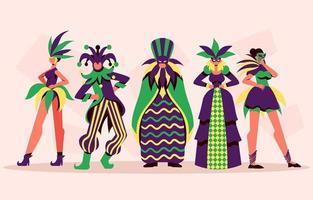 estilo para el disfraz del festival de mardi grass vector