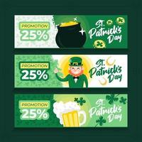 Pack of 3 Horizontal Banner Templates for St. Patrick's Day vector
