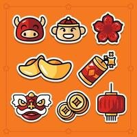 Set of 8 Chinese New Year Gong Xi Fa Cai Stickers vector