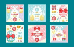 Colourful Easter Day Social Media Marketing Post Collection vector