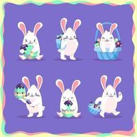 paquete de 6 personajes de conejito de pascua vector
