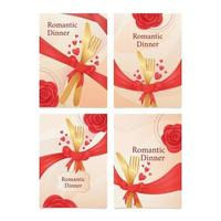 Tarjeta de fecha de cena de San Valentín con concepto de tenedor y cuchara vector