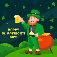 Happy St. Patrick's Day with Leprechaun vector