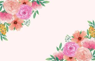 elegante acuarela floral de primavera con flores frescas vector