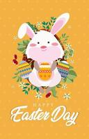 Cute Pink Easter Rabbit with Orange Background vector