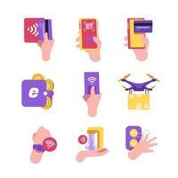 icono de vida digital sin contacto vector