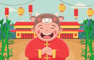 Chinese New Year with A Happy Expression Child vector