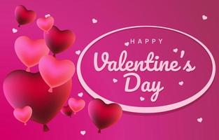 3D Heart Balloons for Valentine's Day vector