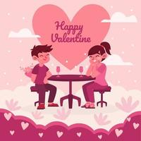 Dinner at Valentines Day vector