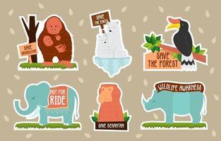 Wildlife Awarness Sticker Set vector