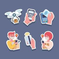 Set of Contactless Payment And Delivery Technology Sticker vector