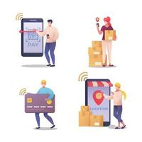 Set of Character Shopping Online vector