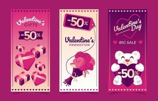 Pack of 3 Banner Templates for Valentine's Day vector