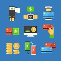 Pack of 9 NFC Contactless Payment Icons vector