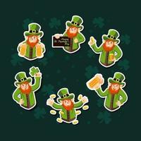 Leprechaun Character Sticker Collection vector