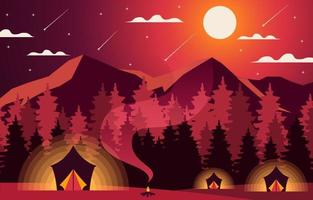 Flat Night Camping Landscape Background vector