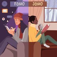 Fomo And Jomo Concept vector