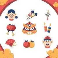 Chinese New Year Festivity Icon Set vector