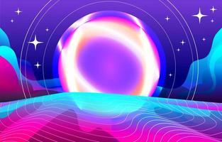 fondo halógeno retro futurismo vector