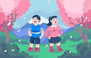 Children Enjoys Cherry Blossom at the Park vector