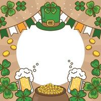 St Patrick Themed Background Beers Coins Clovers vector