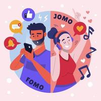 FOMO vs JOMO Phenomenon vector