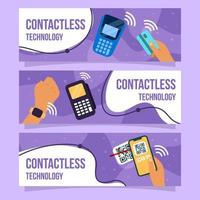 Covid-19 Contactless Technology Banner Collection vector