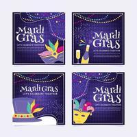 Mardi Gras Card Set vector